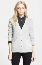 Equipment Femme xs Gray Heathered V Neck Wool Cashmere Button Cardigan Sweater