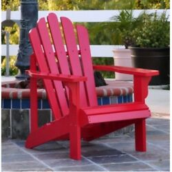 Wood Adirondack Chair Home Outdoor Backyard Patio Deck Pool Wooden Red Furniture