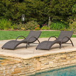 2 Piece Brown Resin Rattan Chaise Lounge Chair Patio Set Outdoor Home Furniture