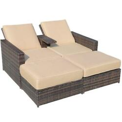 Outdoor Double Chaise Lounge Chair Ottoman Set Rattan Wicker Patio Furniture