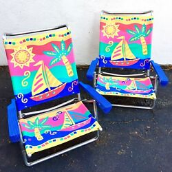 2 Vtg Folding Aluminum Rainbow Tropical Beach Chairs Metal Canvas Lawn Patio