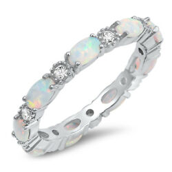 Clear CZ Oval White Lab Opal Ring Sterling Silver Stackable Love Band Sizes 4-10