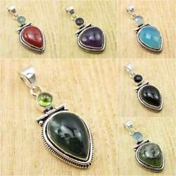 925 Silver Plated Natural PERIDOT MOSS AGATE & Other Gemstone Pendant To Choose