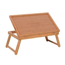 Wood Color Breakfast Bed Tray Lap Desk Serving Table Foldable Legs Food Dinner