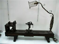 Early 20th Century Bench Top Lathe with Ornate Cage Work Light Oak Brass Iron