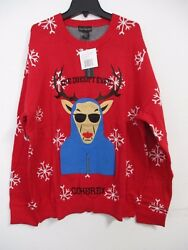 Alex Stevens Men's She Doesn't Even Go Here Ugly Christmas Sweater Red 2XL