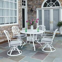 Home Styles Furniture Floral Blossom White 42.25-Inch 5-Piece Outdoor Dining Set