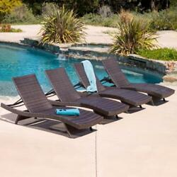 Outdoor Patio Wicker Adjustable Chaise Lounge Chairs Seat Set 4pcs Brown Wicker