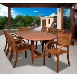 Patio Dining Set Extendable Outdoor Oval Table 8 Chairs Seats Eucalyptus Wood