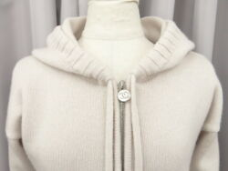 Auth CHANEL Hood Zip Up Cardigan Size 36 100% Cashmere Beige 23141225100 jF