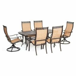 Outdoor Patio Dining Set 7pcs Rectangular Table 6 Seats 2 Swivel Rocker Chairs