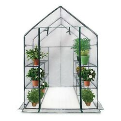 Sontax Large Walk-in Greenhouse with Clear Cover 12 Shelves Stands 3 Tiers Racks