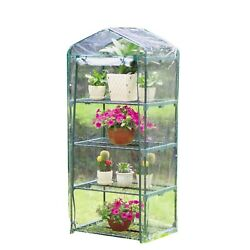 Sontax 4 Tier Portable Mini Compact Greenhouse with Clear PVC Cover