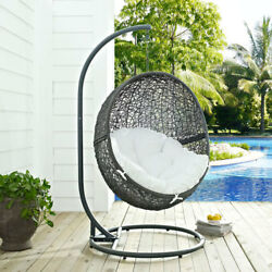Modway Furniture Hide Outdoor Patio Swing Chair in Gray White - EEI-2273-GRY-WHI