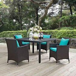 Modway Furniture Convene 5 Piece Outdoor Patio Dining Set in Espresso Turquoise