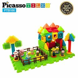 PicassoTiles 100pcs Construction Learning Toy Stacking Educational Blocks PTB100 $29.99
