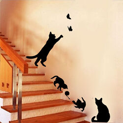 CAT FAMILY Wall Stickers Black Removable Home Stickers Best Gift AU $114.50