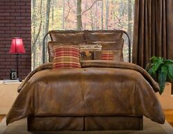 Brown Faux Leather Rustic Western Cabin Lodge Bedding Comforter Set 4 Pc Queen