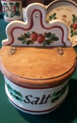 VNTG Rare Bauer Painted Salt Box w Wood Cover Hand Painted strawberry
