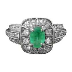 Impressive Emerald And Diamond Vintage Cluster Ring