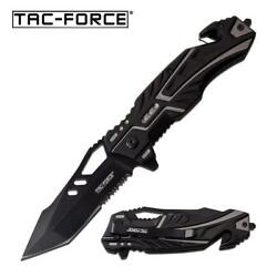 Spring Assist Folding Knife Tac Force Gray Black Serrated Tanto Blade Rescue $11.61