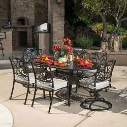 San Paulo 7-piece Patio Dining Set 2 Swivel Rockers 4 Stationary Chairs NO TAX