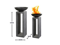 U Pay Post 1 Fire Bowl Outdoor On Console Long Granite Fire Pit L50xH105 Grey