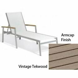 Travira Natural Sling Chaise Lounge with Vintage Tekwood Armcaps Set of Four