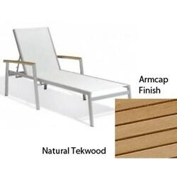 Travira Natural Sling Chaise Lounge with Natural Tekwood Armcaps Set of Four
