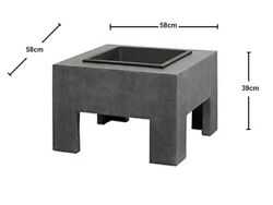U Pay Post 1 Fire Pit Table Outdoor Square Granite Backyard Patio Black