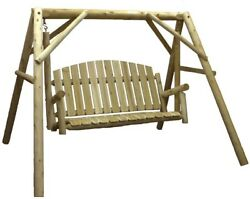 38 in. Country Cedar Outdoor Porch Swing and Stand Set Patio Furniture --