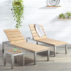 Macon 3 Piece Teak Outdoor Chaise Lounge Chair Set in Whitewash