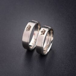 His Queen And Her King Titanium Steel For Lover Engagement Couple Rings Gift