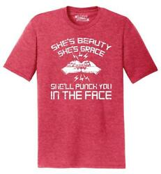 Mens Shes Beauty Shes Grace Punch In Face Tri-Blend Tee Workout Fighter Wife
