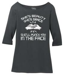 Ladies Shes Beauty Shes Grace Punch In Face Scoop 34-Slv Tee Workout Fighter