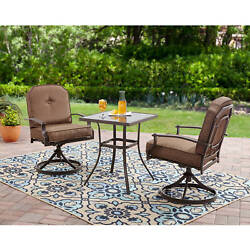 Patio Chat Set 3pc Outdoor Metal Bistro Garden 2 Swivel Chairs Table Steel Frame