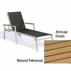 Travira Black Sling Chaise Lounge with Natural Tekwood Armcaps Set of Four