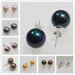 Lots Fine 10mm 12mm South Sea Shell Pearl Round Beads Silver Stud Earrings AAA+