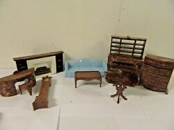 1960s Plasco USA Dollhouse Furniture Set Fireplace HutchConsole Tables + More