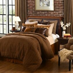 HiEnd Accents Crestwood Brown Tweed Cabin Lodge Comforter Bed Set - 4 Pc Twin