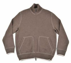 TOM FORD Solid Brown 100% CASHMERE Knit Full Zip Cardigan Sweater Mens - XL