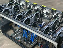 6 GPU GTX 2060 Cryptocurrency Mining Rig custom built for altcoins.
