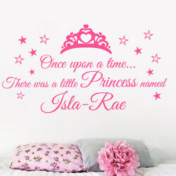 Personalised Once upon a time Princess quote wall sticker Girls bedrooms GBP 7.49