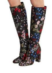 VALENTINO Spring Camu Garden Brocade Knee Boots Multi Floral 35.5 Authentic NWT