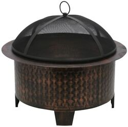 Woven Base Cast Iron Fire Pit Outdoor Heating Patio Fireplace Accessories New