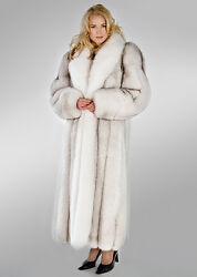 Genuine Natural Blue Fox Fur Coat with Natural White Fox Collar Length 52