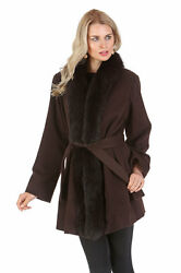 Real Fox Fur Trim Cashmere Coat Wrap Jacket for Women - Tuxedo Trim Dark Brown
