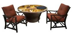 3-Pc Round Gas Firepit Table Set in Antique Bronze [ID 3684274]