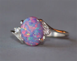 2.3Ct Fire Opal Women 925 Silver Ring Fashion Wedding Engagement Party Size 5 11 $2.87