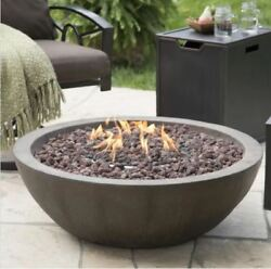 Patio Fire Pit Outdoor Propane Gas Fireplace Cover Campfire Lava Rock Stone Deck